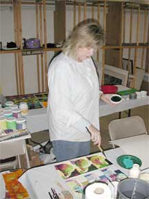 Nan Painting at Burridge Workshop